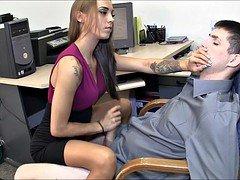 Wonderful secretary gives hot femdom handjob