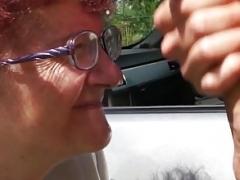 80 years mature German granny giving a blowjob