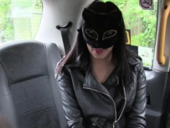 Cheeky brunette Maya wears mask and moreover rides