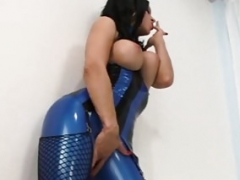 Latex Chick Raven Black Buries Face In RubberDoll's Crotch!