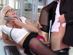 A blonde secretary is getting her tight cunt-licking and besides entered