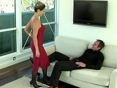 Dame in red giving bj & having an intercourse