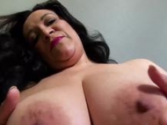 A boobalicious obese housewife taking care of her pink slit with an dong on her first casting audition