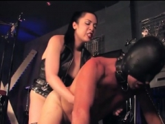 Strapon Dom and plus Male Slave in BDSM Room