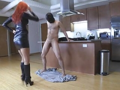 Redhead Lady unmerciful Ballbusting spiked Boots