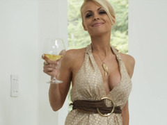 A chick with natural tits has a drink & then she has some sex