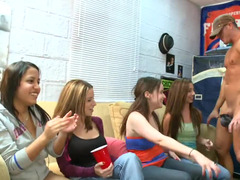 Top heavy girls are having a party in the dorm room with a nude lad