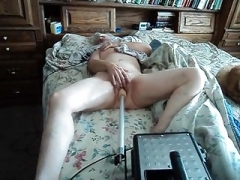 Wife adoring her getting down and dirty machine