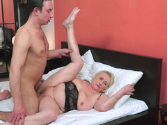 Insane granny in black needs to satisfy her handsome young-looking man