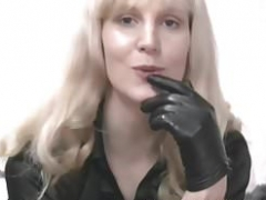 Blonde soccer mom in leather gloves make you kinky fetish slave