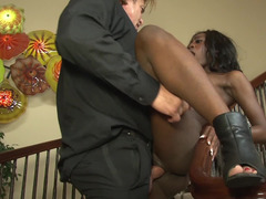 Ebony maid has to follow absolutely all the instruction of white dude