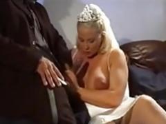 Pregnant  Blonde Huge Hanging Udders Anal Stockings