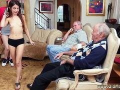 Two mouth watering gals give head grandpas fat pecker
