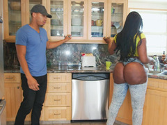 Giant ass of black-skinned dame deserves dude's attention