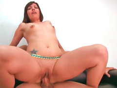 Horny milf Jaycee jumps up and plus down the rigid cum cannon