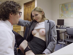 Office nerd catches colleague masturbating and also joins her