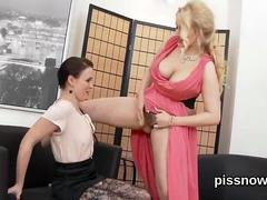 Stunned bombshell in lingerie is geeting peed on and rode