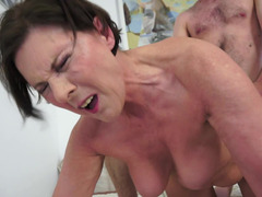 A weighty grown-up hirsute dame gets her muff penetrated as she bends over