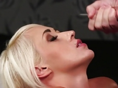 Boobalicious British bride face covered in cock juice Point of view