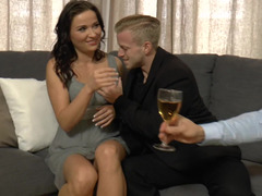 A mom i`d like to make love is with two guys and also they surely are getting her drunk to make love her