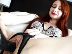 Redhead with Big Labia Makes love her Pussy with Black Dildo