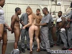 Redhead broad is down to give head plenty of black ramrods right away