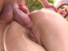 Good-looking Stella Cox pleases her asshole with sizeable dick