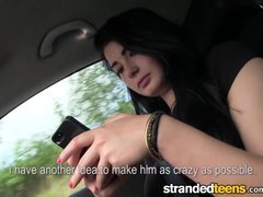 Stranded teen chicks - Anna gets a little help from a stranger