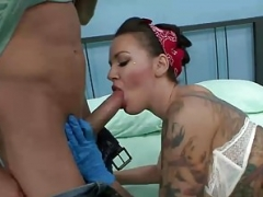 Sexy tattoo artist Emily Parker gets a sizeable ramrod surprise