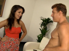 Persistent lad licks chesty babe's asshole and plus takes dripping wet snatch