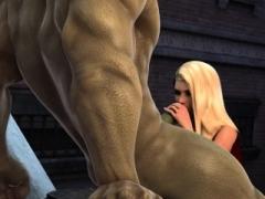 Incredible Hulk has an intercourse nice-looking blonde gal