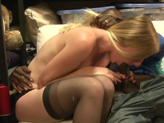 Sweet thing in stockings deals with black-skinned man