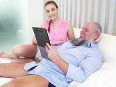 Young beauty seduced dirty pervert grandpa