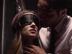 Blindfolded girl gets slapped and blacked by her partner