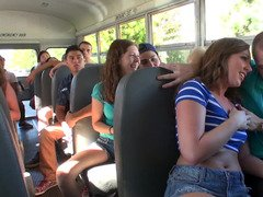 Bus passengers watch how young lovers have sex right there