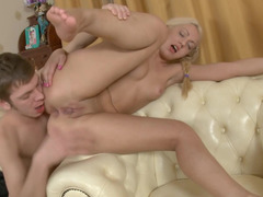 Dollface with pretty blonde pigtails is ready for sexual action