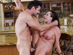 Sweet mom in a cardigan seduces a married man for his dick
