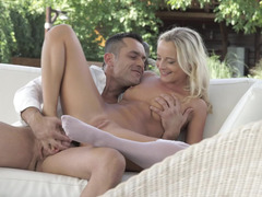 Cumshot on her sexy white stocking makes it all sticky