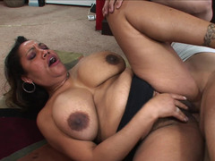Chubby mom Kira opens her hairy bush to a big cock