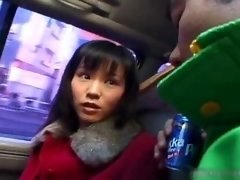 Hot asian girl in car having fun
