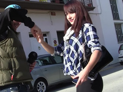 Money made dirty prostitute Lucia Nieto give bj two peckers outdoors