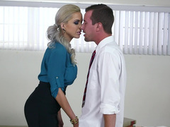 A blonde milf with a sexy ass is giving a blow job to a guy