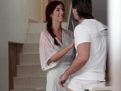 Red-haired beauty has gentle sex with her masseur