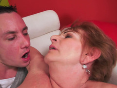 Slutty granny with large hooters gets nailed by a handsome stud