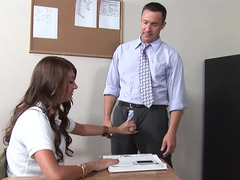 A skinny woman with giant puffy nipples is licking her teacher