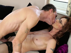 Attractive mature and her lover enjoy passionate sex