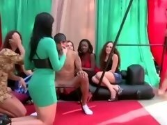 Cfnm outdoor party where non-professional fella gets handjob in groupsex