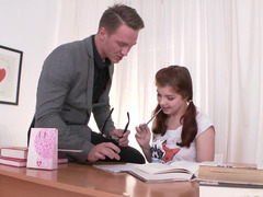 Teacher fits pretty school girl into his schedule