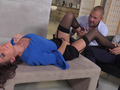 Good girl becomes the office whore as she fucks two guys