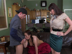 Step mom catches her daughter having an intercourse and joins in for a three-way